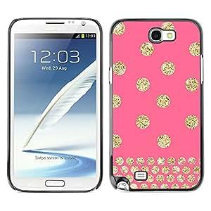 TopCaseStore / la caja del caucho duro de la cubierta de protección de la piel - Dot Pink Gold Glitter Bling - Samsung Galaxy Note 2 N7100