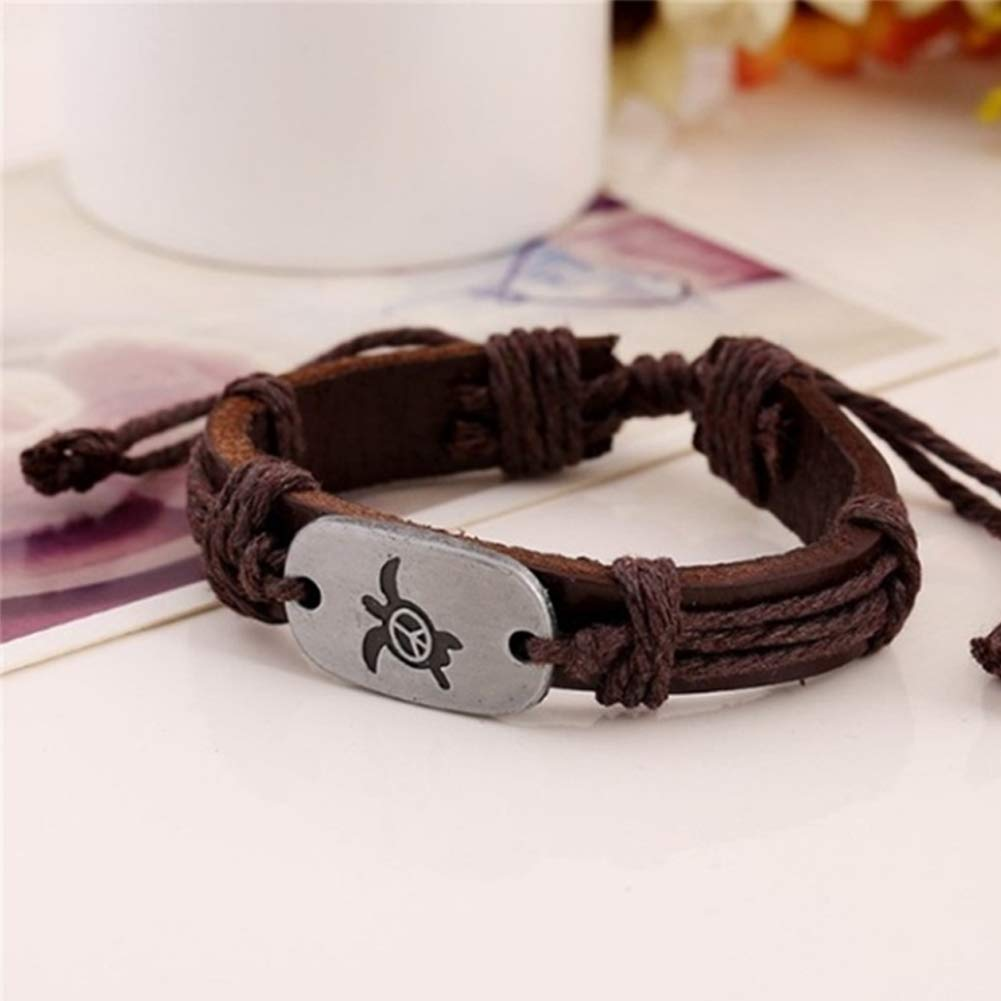 Brown gu6uesa8nVintage Women Turtle Charm Faux Leather Braided Rope Bracelet Jewelry Gifts