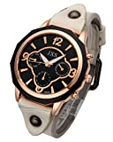 Top Plaza Womens Mens Fashion Rose Gold Tone Leather Analog Quartz Wrist Watch Arabic Numerals Big Face Casual Sport Watch - White