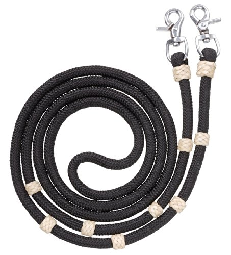 Tough 1 Royal King Braided Contest/Roping Reins, Black
