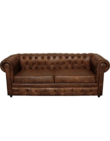 Sofá de polipiel Vintage de tres plazas color marrón: Amazon ...