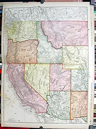 Rand Mcnally Map Denver Pacific Coast Ca 1915 Indian Reservations