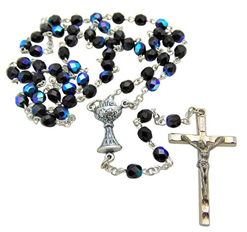 Westman Works First Holy Communion Rosary with Iridescent Glass Beads and Metal Crucifix