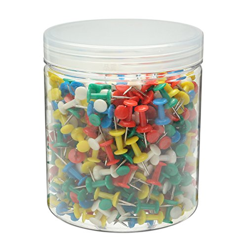 Caveen 500PCS Drawing Colourful Plastic Push Pins Stationery for Cork Notice Board
