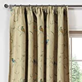 LQF Window Treatments Country Style Printed Taupe Country Birds Thermal Insulated Blackout Curtains for Bedroom, Hook Process,Multi-size Room Darkening Drapes , 1 Panel , W54 by L63 inch