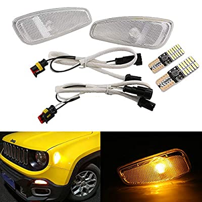 BICYACO Turn Signal LED Lights Smoked Lens Amber LED Lamps Update Kit W/T10 Bulb for Jeep Renegade 2014 2015 2016 2Pcs -Chrome: Automotive