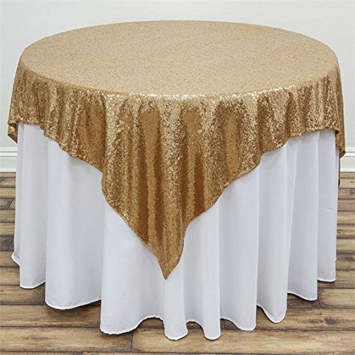 48x48-Inch Square-Sequin Tablecloth-Gold, 2017 New Arrival Sequin Table Cloth/Overlay/Cover Glitz Table (New Tablecloth)