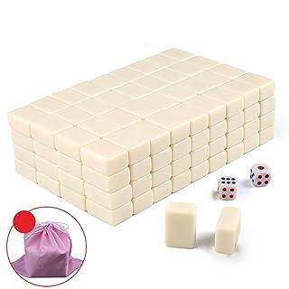 NuoEn Mini Mahjong Versione Cinese Tradizionale Gioco Set Portatile Materiale Acrilico mAh-Jongg Viaggio Famiglia Tempo Libero 146 Piastrelle ( Color : Beige )