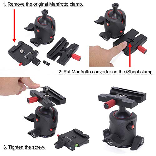 iShoot Aviation Aluminum Multifunctional Quick Release Plate QR Adapter Clamp Compatible with ARCA-Swiss SUNWAYFOTO BENRO SIRUI MARSACE Manfrotto Gitzo Type Quick Release Plate and Tripod Head