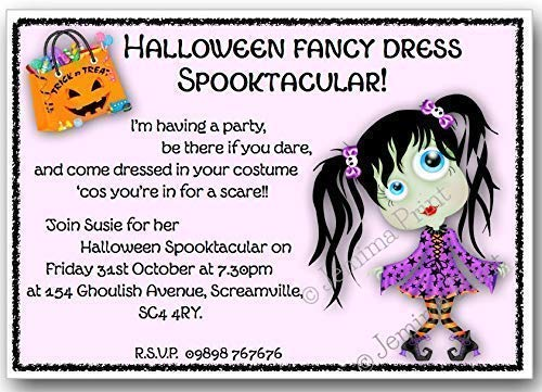 10 Personalised Halloween Invitations with envelopes J111