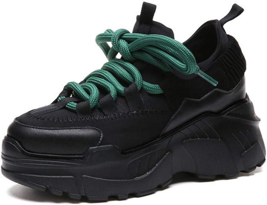 ASTAOT Zapatillas para Correr Que Aumentan La Altura Zapatillas De Deporte con Suela Gruesa Zapatillas Crudas con Cordones Zapatillas Deportivas Chunky Plat Sport-Black,6: Amazon.es: Deportes y aire libre