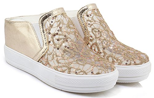 IDIFU Womens Casual Pull on Round Toe Mid Wedge Heel Daily Low Cut Sneakers Gold t5MRdUTU