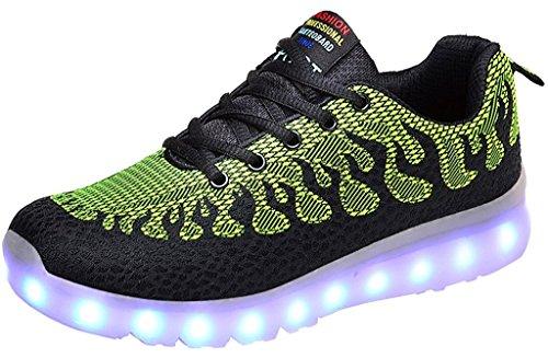 Women's & Men's LED Breathable Shoes Luminous Flashing Sneakers Light Up Sport Shoes (Blackgreen 44)