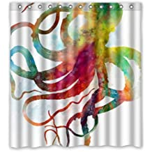 "YEHO Art Gallery Stylish Living Elegant Abstract Colorful Octopus Art Ocean Animal Bathroom Shower Curtain Liner for Home with Hook 66"" x 72"""