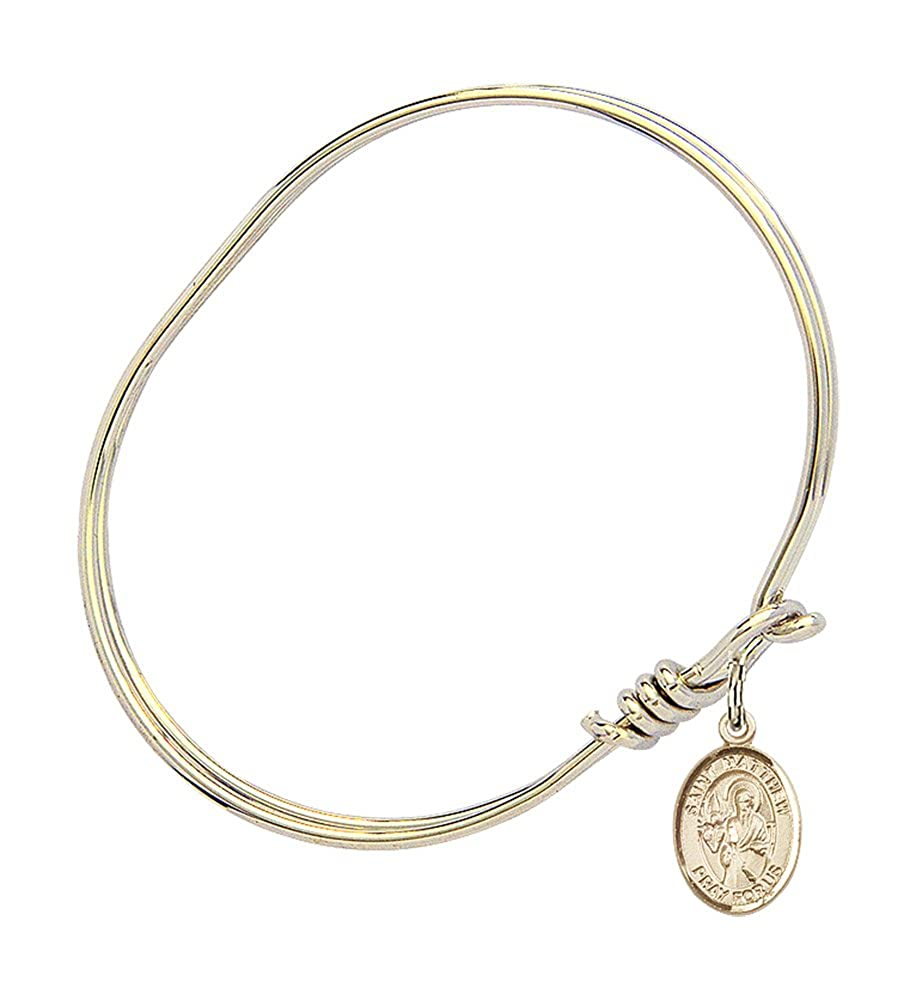 5 3//4 inch Oval Eye Hook Bangle Bracelet with a St Matthew the Apostle charm.