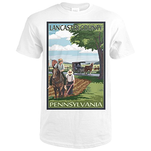 Lancaster County, Pennsylvania - Amish Farm Scene (Premium White T-Shirt - Lancaster Parks Pa