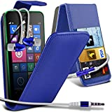 ( Blue ) Nokia Lumia 635 Premium Faux Credit / Debit Card Slot Leather Flip Skin Case Cover & LCD Screen Protector Guard & Aluminium In Ear Earbud Stereo Hands Free Earphone with Built in Mic & On-Off Button by Fone-Case