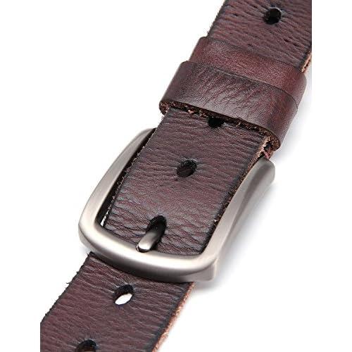 d0d1151b0 Weinida Full Grain Hombres Negocio Vestimenta Casual Ropa Cinturón de Cuero  Cinturones hecho a mano 38mm