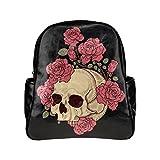 Skull And Rose Unisex Pu Leather Computer Laptop Backpack, Travel Bag Hiking Knapsack,School College Student Backpacks Shoulder Bags For Women/Girls,Men/Boys