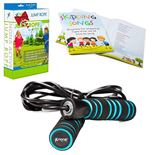 Nona Active Adjustable Jump Rope - for Kids and Adults - with Anti-Slip Handles and Smooth Rotation - Plus Skipping Songbook - Plus 2 Bonuses