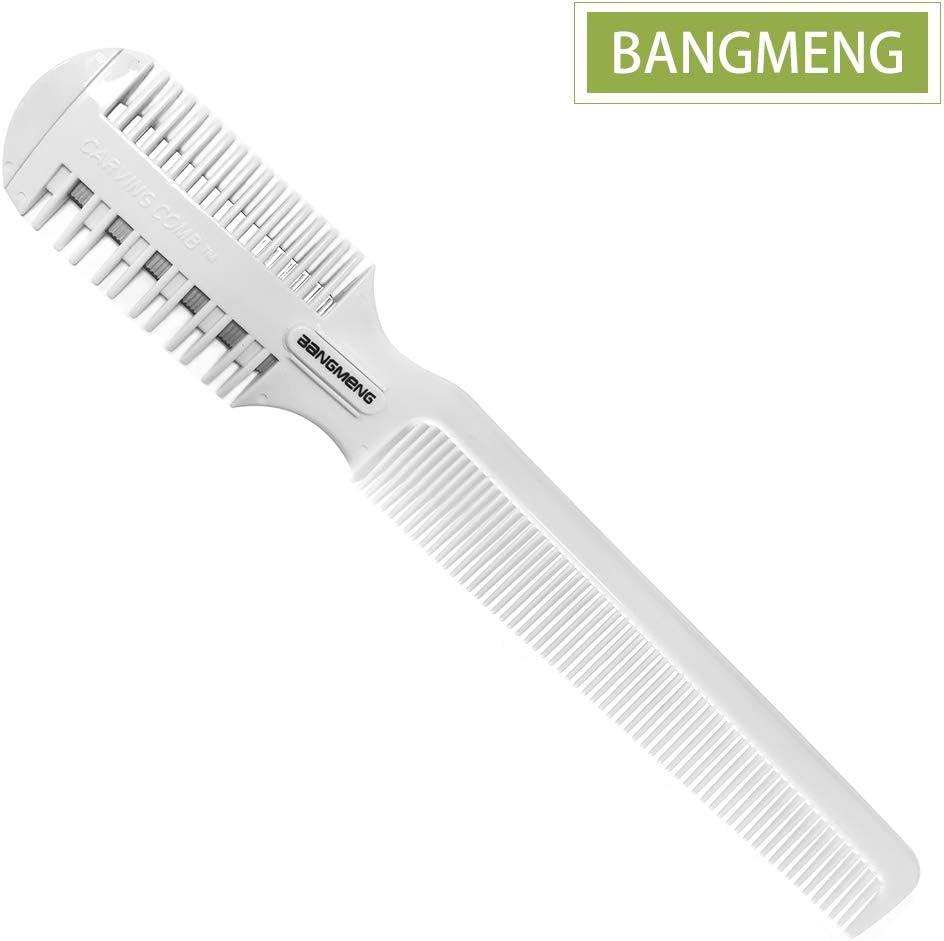 BANGMENG Peine cortador de pelo, afeitadora de pelo con peine, puntas abiertas para peinado, afeitadora de pelo de doble cara para corte y peinado de cabello fino y grueso.