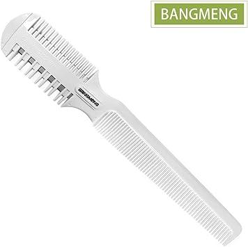 BANGMENG Peine cortador de pelo, afeitadora de pelo con peine, puntas abiertas para peinado, afeitadora de pelo de doble cara para corte y peinado de cabello fino y grueso.: Amazon.es: Salud y