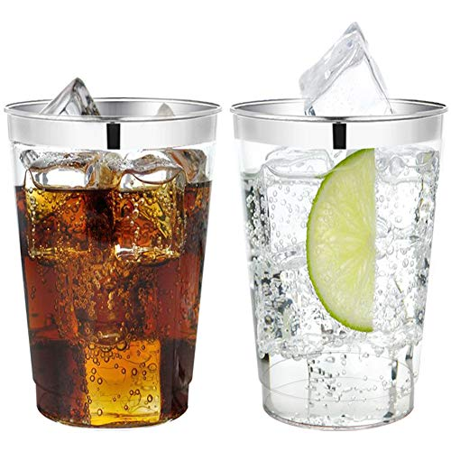 60 Piece 12OZ Silver Plastic Cups, Clear Disposable Tumblers, Wedding Silver Rim Cups for Party Holiday and Occasions -