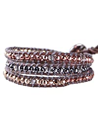 KELITCH Colour Silver Plated Mix Beaded 3 Wrap Bracelet on Brown Leather Handmade Strand Jewelry