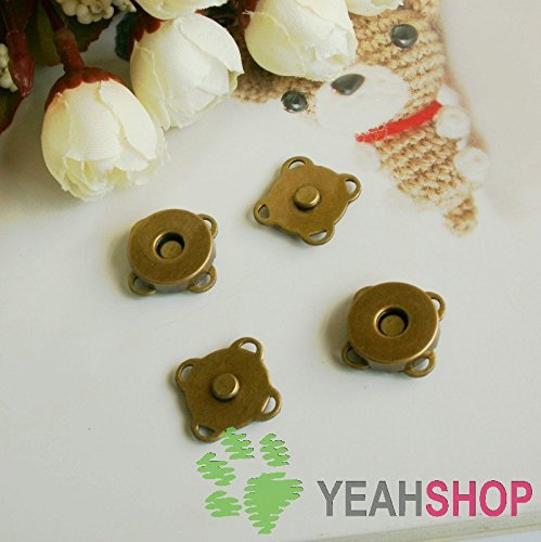 14mm Antique Brass Sew on Magnetic Snaps / Closures / Buttons - 10 Sets ()