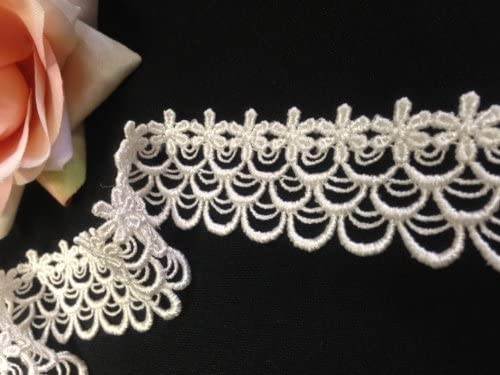 Ivory 1.5 Inches 2 Yards Delicate Raindrop Design Amore Fabrics Venise Lace Trim