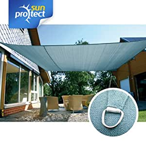 sunprotect toldo, vela de sombra professional, 6x4m, Rechteck, blau-grau
