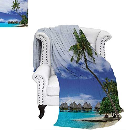 Lightweight Blanket Water Bungalows of Tropical Resort Bora Bora Island Pacific Ocean Panorama Digital Printing Blanket 50