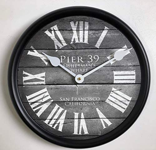 Pier 39 Gray Wall Clock, Available in 8 Sizes, Most Sizes Ship 2-3 Days,