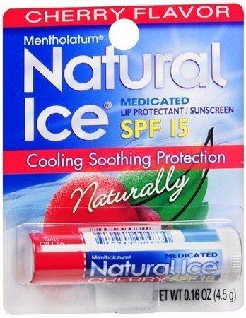 Mentholatum Natural Ice Lip Medicated Lip Balm SPF 15 - Cherry Flavor (Pack of 12)
