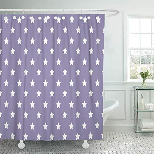 """Emvency Fabric Shower Curtain with Hooks Purple Girly Wide Star Trend Blue Pastel Abstract Baby Border Boy Cartoon Celebration Extra Long 72""""X78"""" Decorative Bathroom Odorless Eco Friendly"""