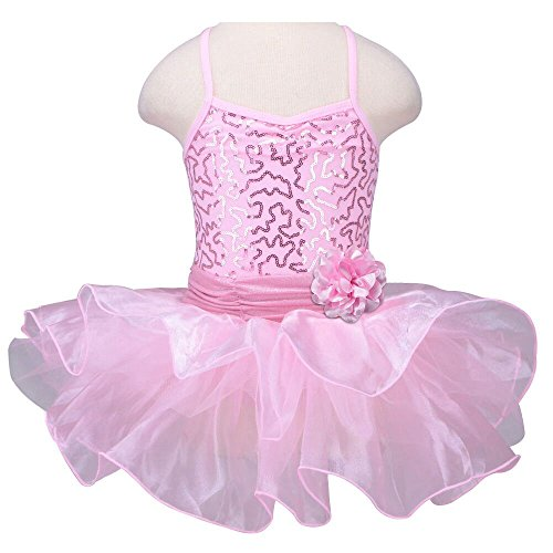 TFJH Kids Little Girls' Ballet Flower Sequin Sleeveless Leotard Tutu Pink 5-6 Years (Pink Dance Costume)