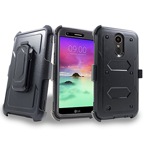 LG K20 Plus Case, Mstechcorp with Built-in [Screen Protector] Heavy Duty Full-Body Rugged Holster Armor Case [Belt Swivel Clip][Kickstand] For LG K20 Plus / K20 V, with Goodie - Glass Polycarbonate Vs Tempered
