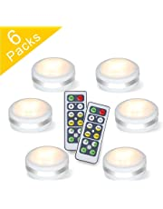 Puck Lights With Remote, Starxing Wireless Led Puck Lights Battery Operated, Led Puck Lights With Remote Control, Led Under Cabinet Lighting, Dimmable Closet Light, Battery Powered, 4000K Natural Whit (6-pack)