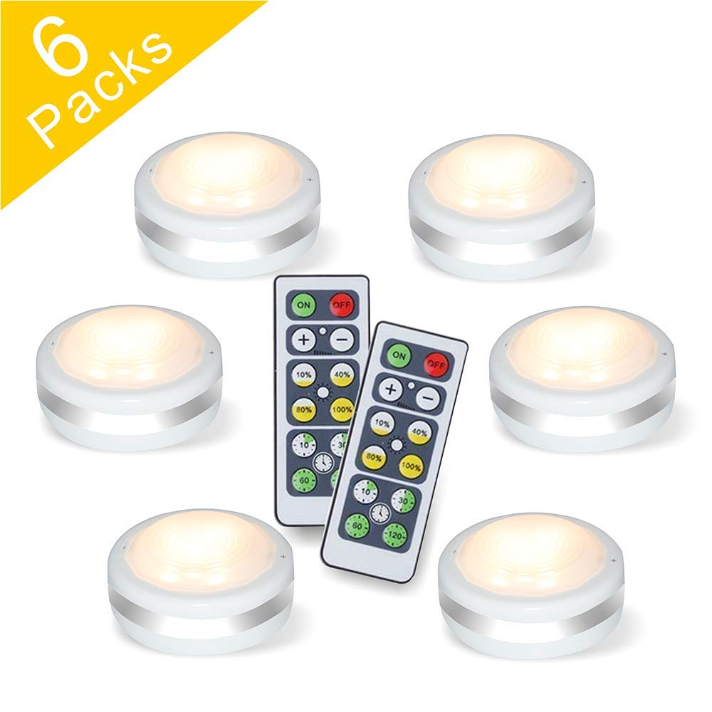 Puck Lights With Remote, Starxing Wireless Led Puck Lights Battery Operated, Led Puck Lights With Remote Control, Led Under Cabinet Lighting, Dimmable Closet Light, Battery Powered, 4000K Natural Whit by Starxing