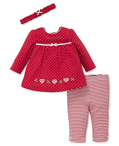 little me Baby Girls Pant Set de día festivo con diadema, Red Holly,