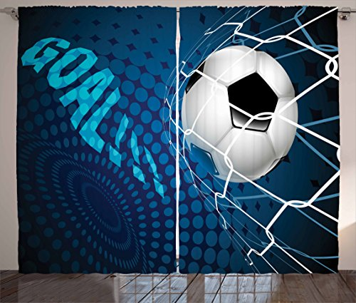 Ambesonne Soccer Curtains, Goal Football Flying into Net Abstract Dots Pattern Background European Sport, Living Room Bedroom Window Drapes 2 Panel Set, 108 W X 90 L inches, Blue Black White