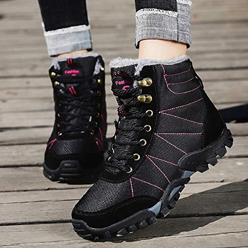 Fourrure Imperméable Bottes Chaussures Basket Montantes Randonnée mastery Femme Chaudes Homme De Rose Noir Neige Hiver H fq0An
