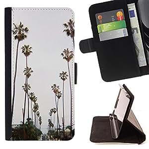 """For Samsung Galaxy E5 E500,S-type Los árboles carretera Miami Beach"""" - Dibujo PU billetera de cuero Funda Case Caso de la piel de la bolsa protectora"""