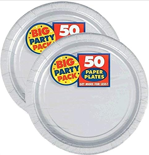Amscan Silver Big Party Pack Dinner Plates (100 Count) by Amscan