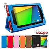 Nexus 7 2 Case, Snugg™ - Smart Cover with Flip Stand & Lifetime Guarantee (Electric Blue Leather) for Nexus 7 2