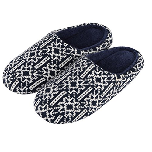 Indoor Blue Washable Knitted Closed Toe YUTIANHOME Soft Cotton Home Shoes Flat Bedroom Non Men's Slippers Warm Slip waEqE7I