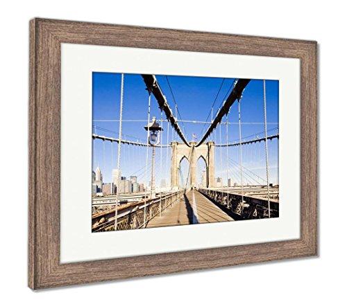 Ashley Framed Prints Brooklyn Bridge, Wall Art Home Decoration, Color, 26x30 (Frame Size), Rustic Barn Wood Frame, AG6317785