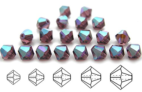 6mm Amethyst AB coated, Czech MC Rondell Bead (Bicone, Diamond Shape), 1 gross = 144 pieces (Amethyst Bicone)