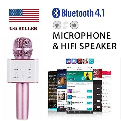 Coversuit Q7 Portable Wireless Karaoke Microphone,Mini Handheld Cellphone Karaoke Player Built-in Bluetooth Speaker,Karaoke MIC Machine for Home KTV ()
