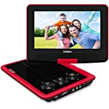 SYNAGY 9 Portable DVD Player CD Player with Car Headrest Holder, Swivel Screen Remote Control Rechargeable Battery Car Charger Wall Charger, Personal DVD Player(Red)